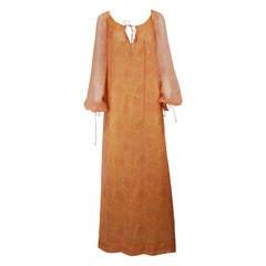 Treacy Lowe Silk Chiffon Maxi gown, 1960s