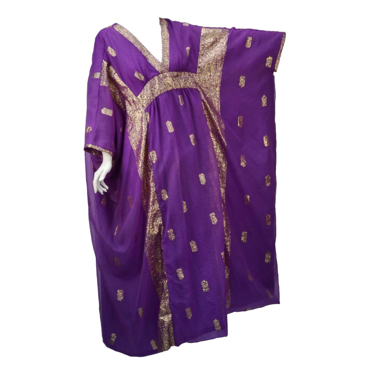 1960s May and Co. Gold and Purple Kaftan 1