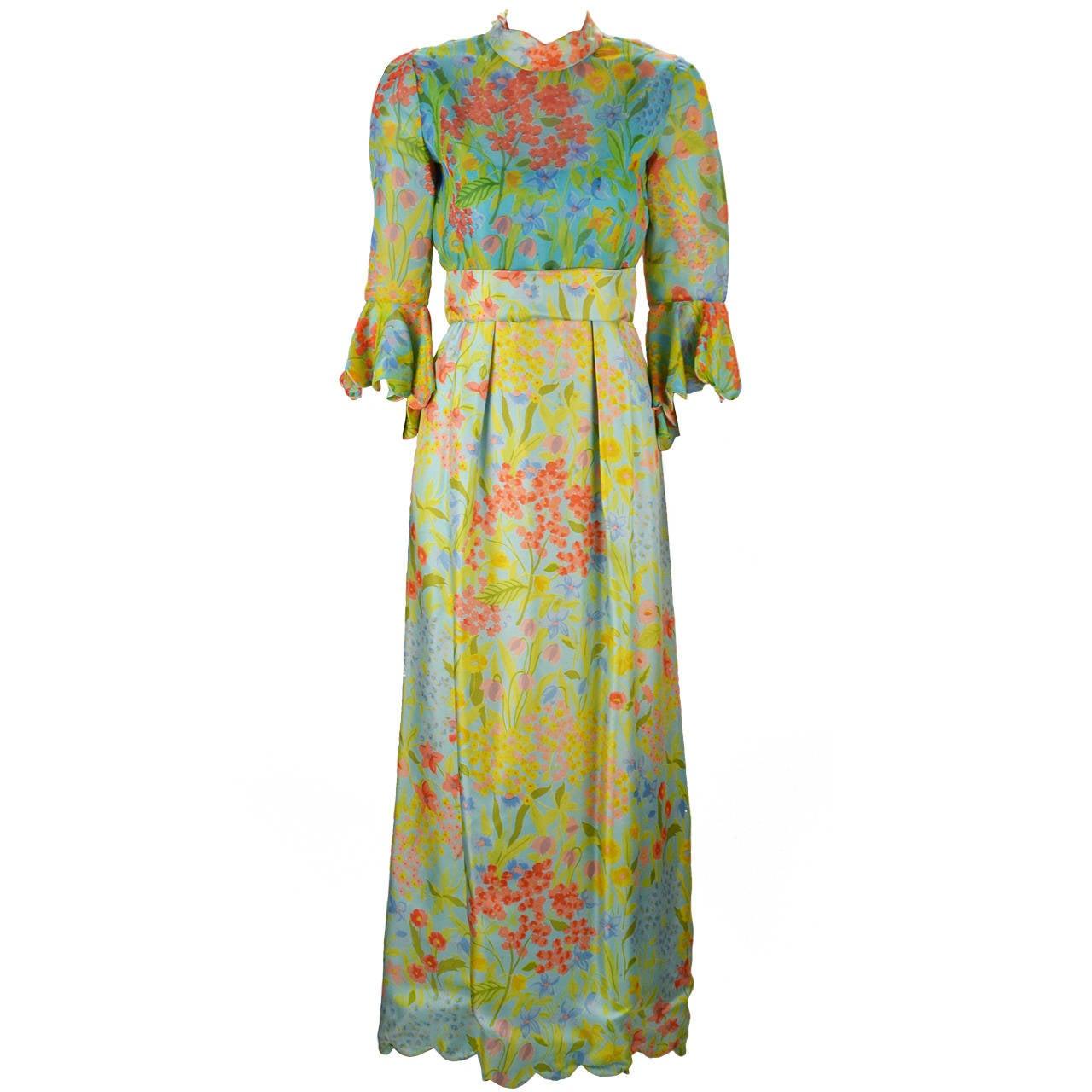 1960s Tina Leser Original Floral Print Dress