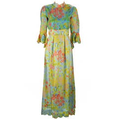 1960s Tina Leser Original Floral Print Dress