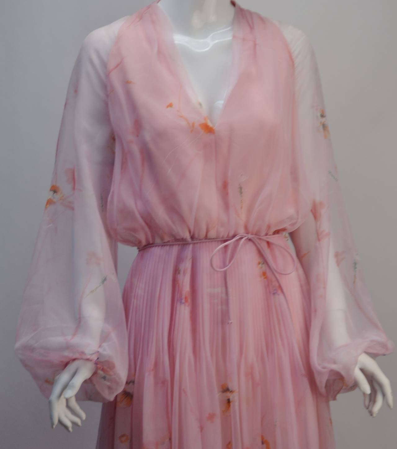 1970s Lillie Rubin Pink Sheer Dress In Excellent Condition For Sale In Houston, TX