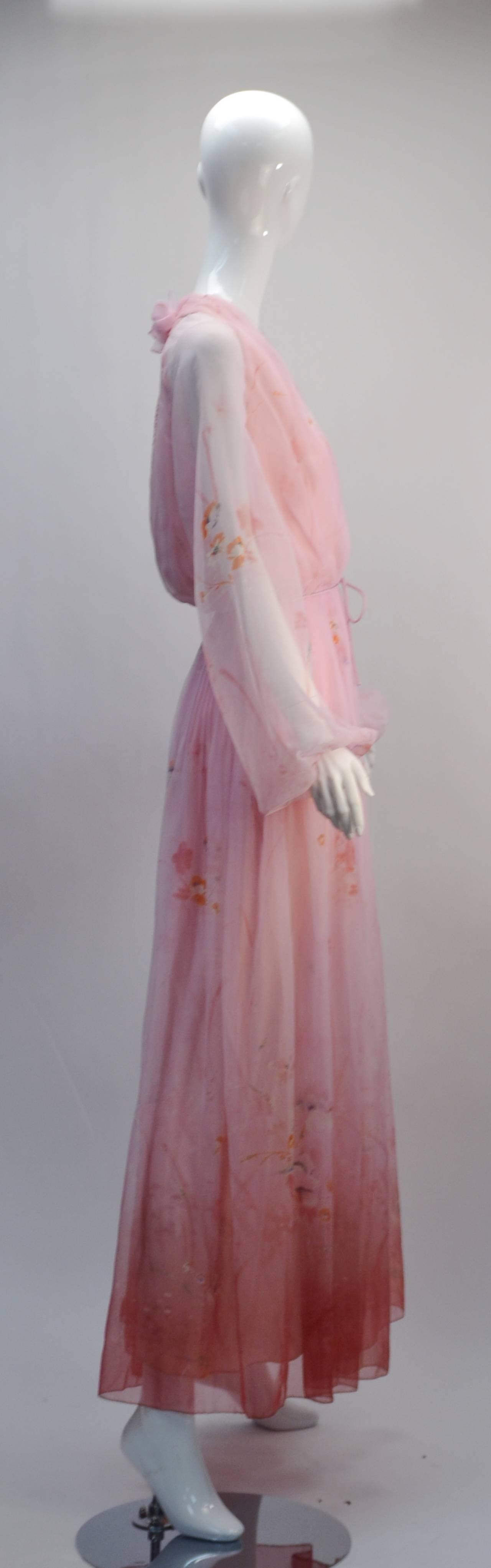 Brown 1970s Lillie Rubin Pink Sheer Dress For Sale