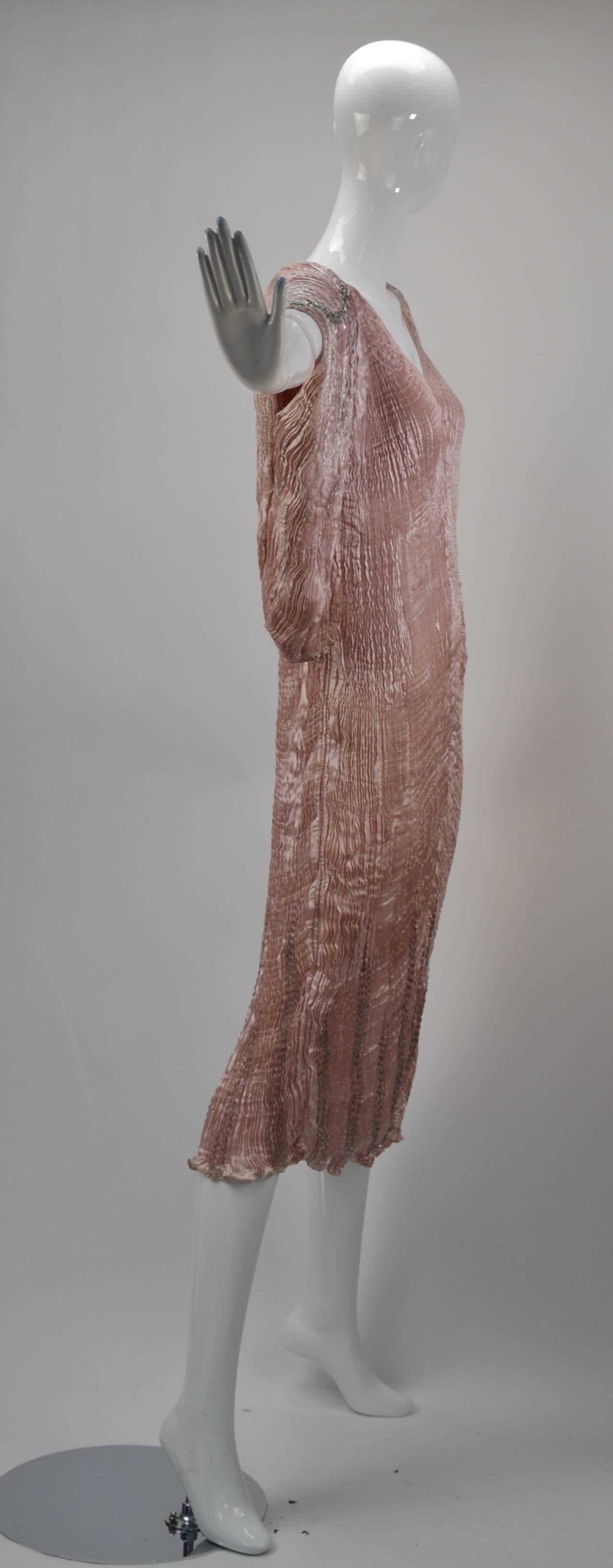Look out Fortuny, this is the best Patricia Lester EVER!  Gorgeous pleated pink champagne silk with silver bugle beads.  Clings to the body in all of the right places.  This dress is absolutely stunning. Bolero Jacket is a dream with silver bugle