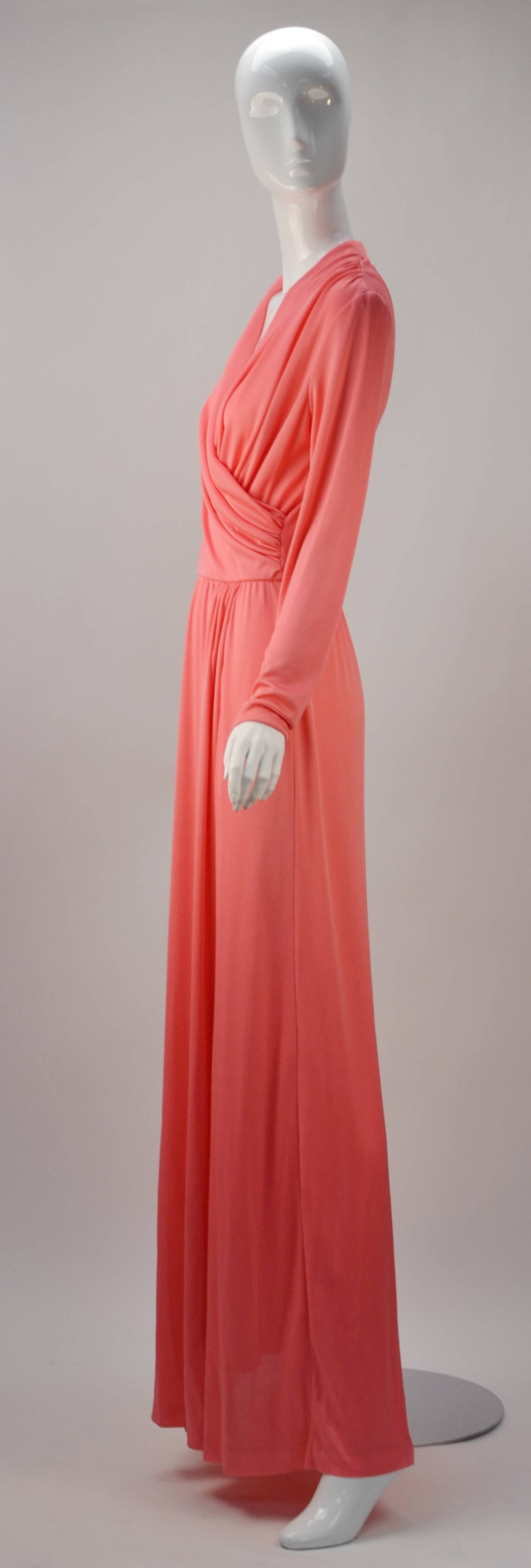 1970s Joy Stevens Coral Pink Maxi Dress In Excellent Condition For Sale In Houston, TX