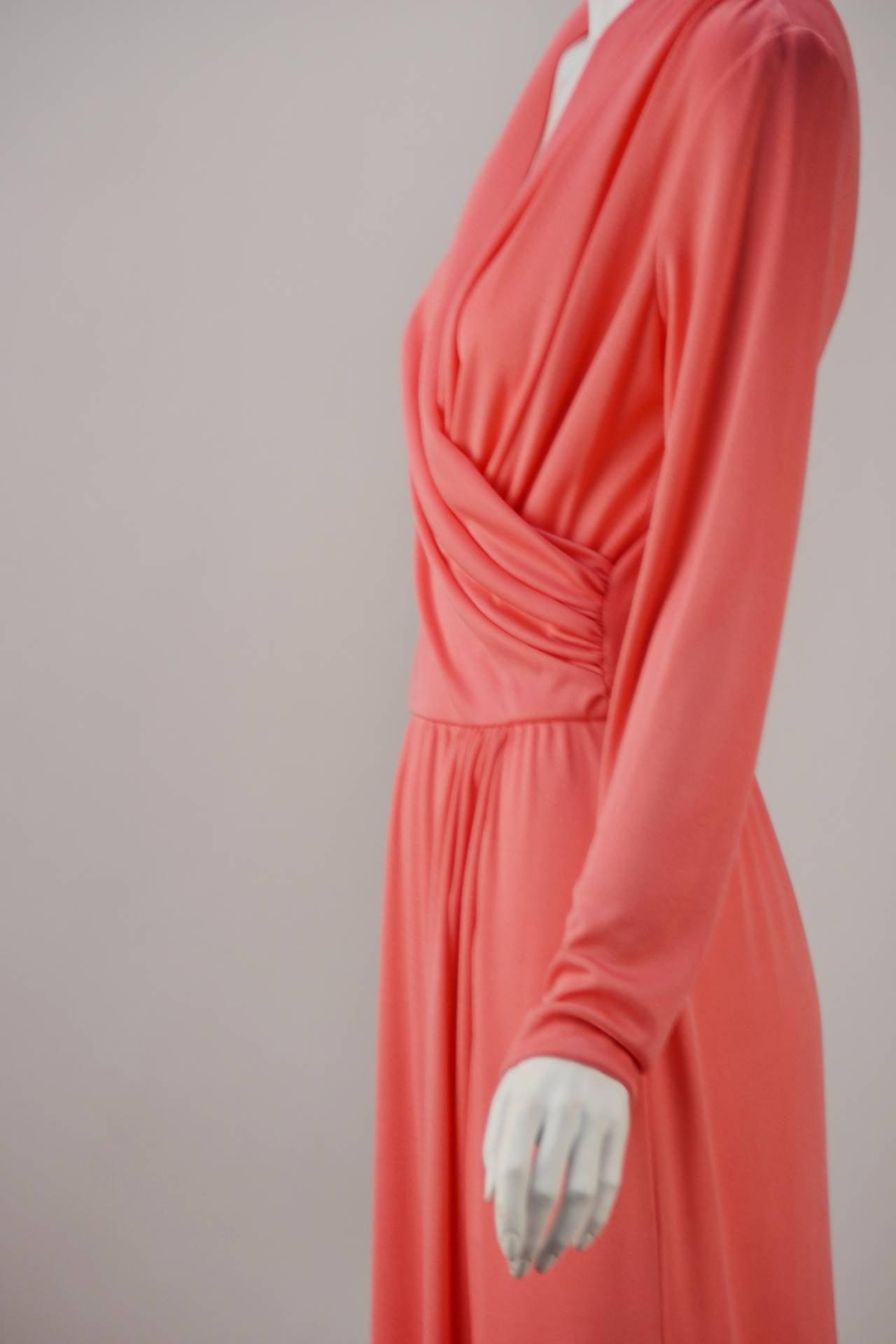 1970s Joy Stevens Coral Pink Maxi Dress For Sale 1