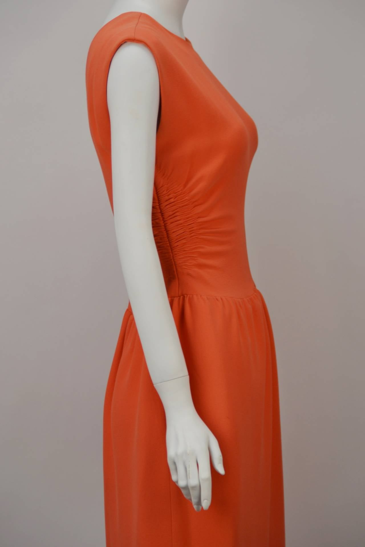 Red 1960s Norman Norell Coral Dress For Sale
