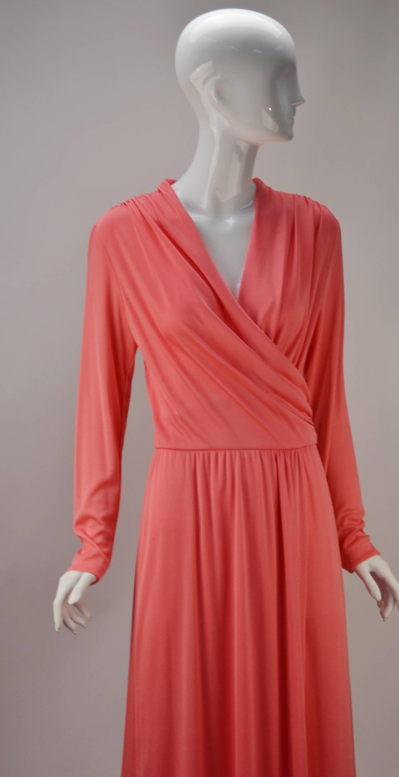 Women's 1970s Joy Stevens Coral Pink Maxi Dress For Sale