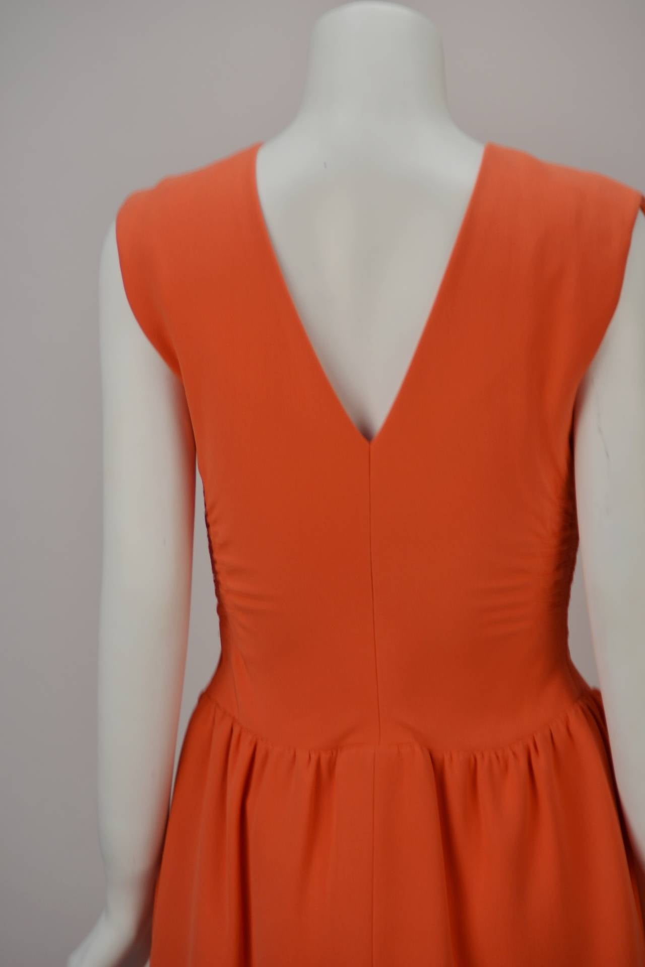1960s Norman Norell Coral Dress In Excellent Condition For Sale In Houston, TX
