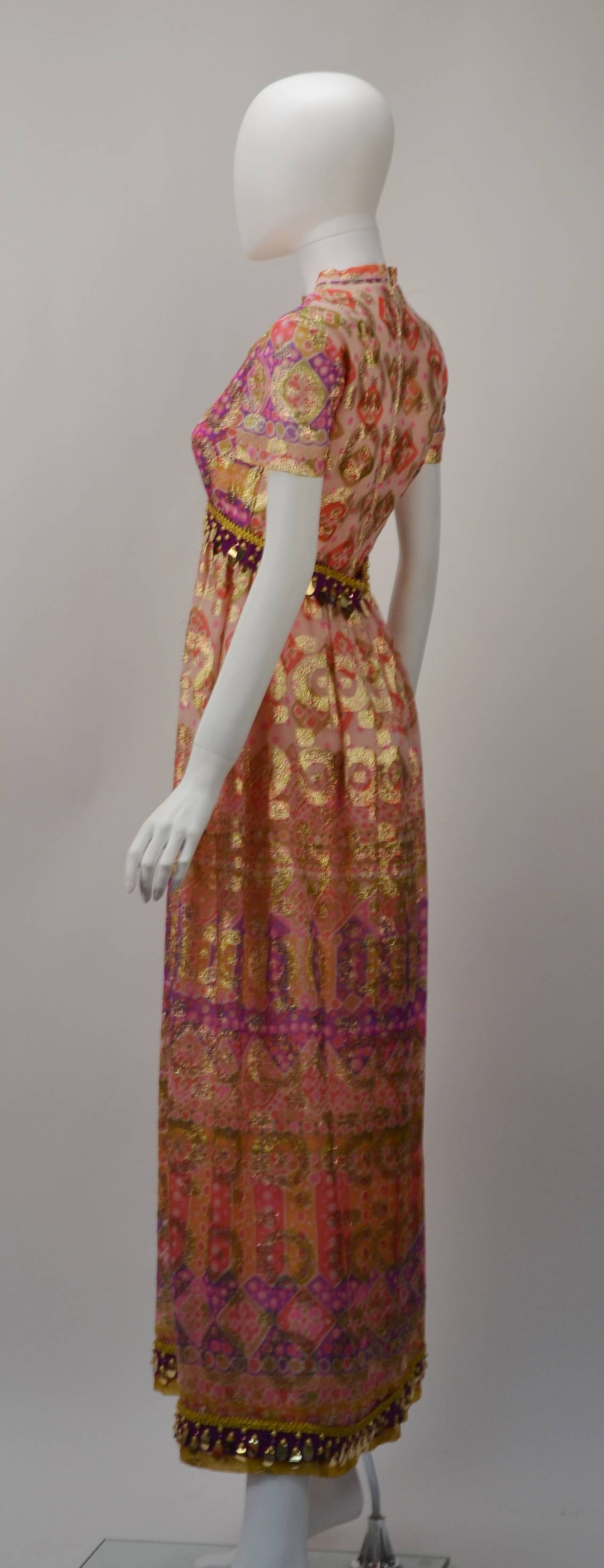 Brown Gino Charles Gold Print Dress, 1970s  For Sale