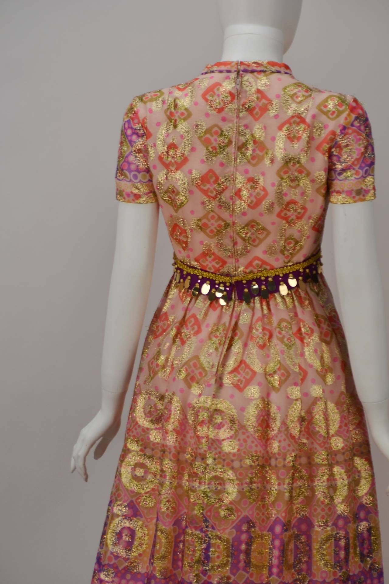 Gino Charles Gold Print Dress, 1970s  In Excellent Condition For Sale In Houston, TX
