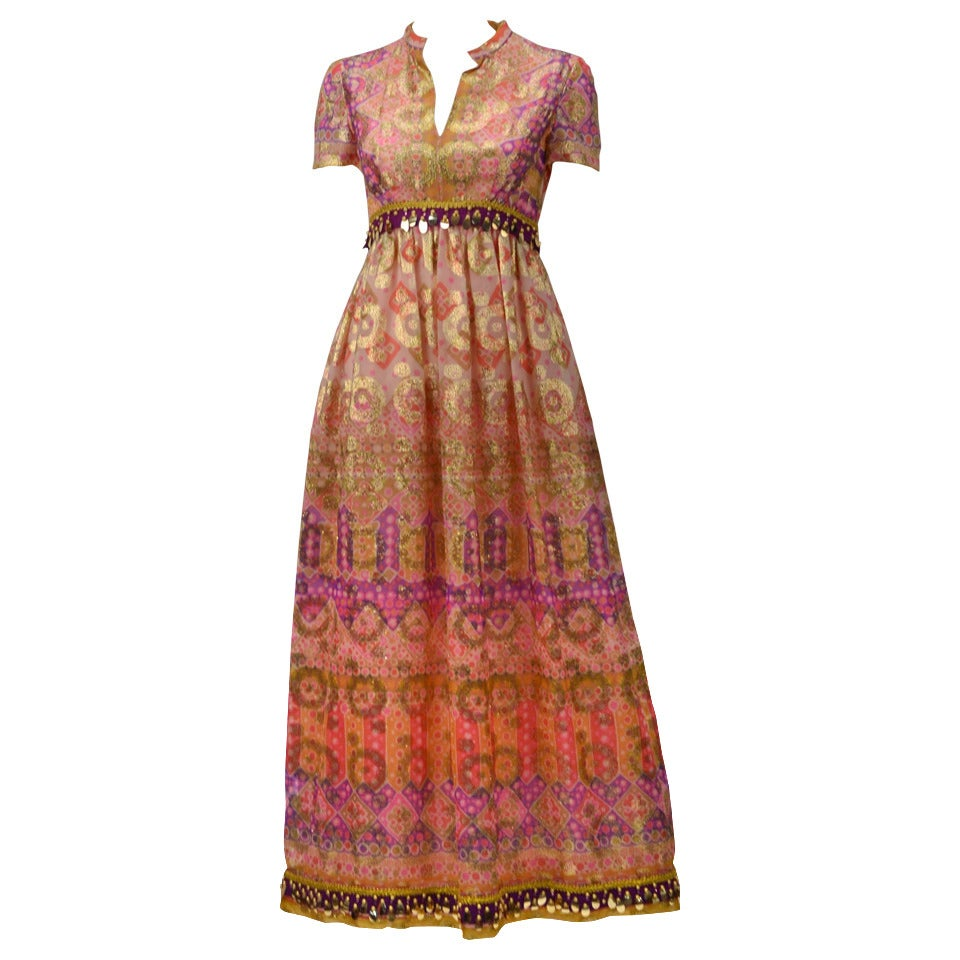 Gino Charles Gold Print Dress, 1970s  For Sale