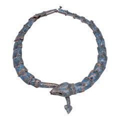 Rare 1950's Margot de Taxco Sterling Snake Choker Necklace