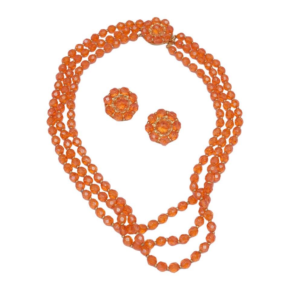 1960s Hattie Carnegie Tangerine Glass Bead Necklace and Earrings 1