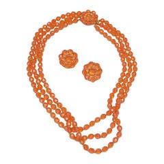 1960s Hattie Carnegie Tangerine Glass Bead Necklace and Earrings
