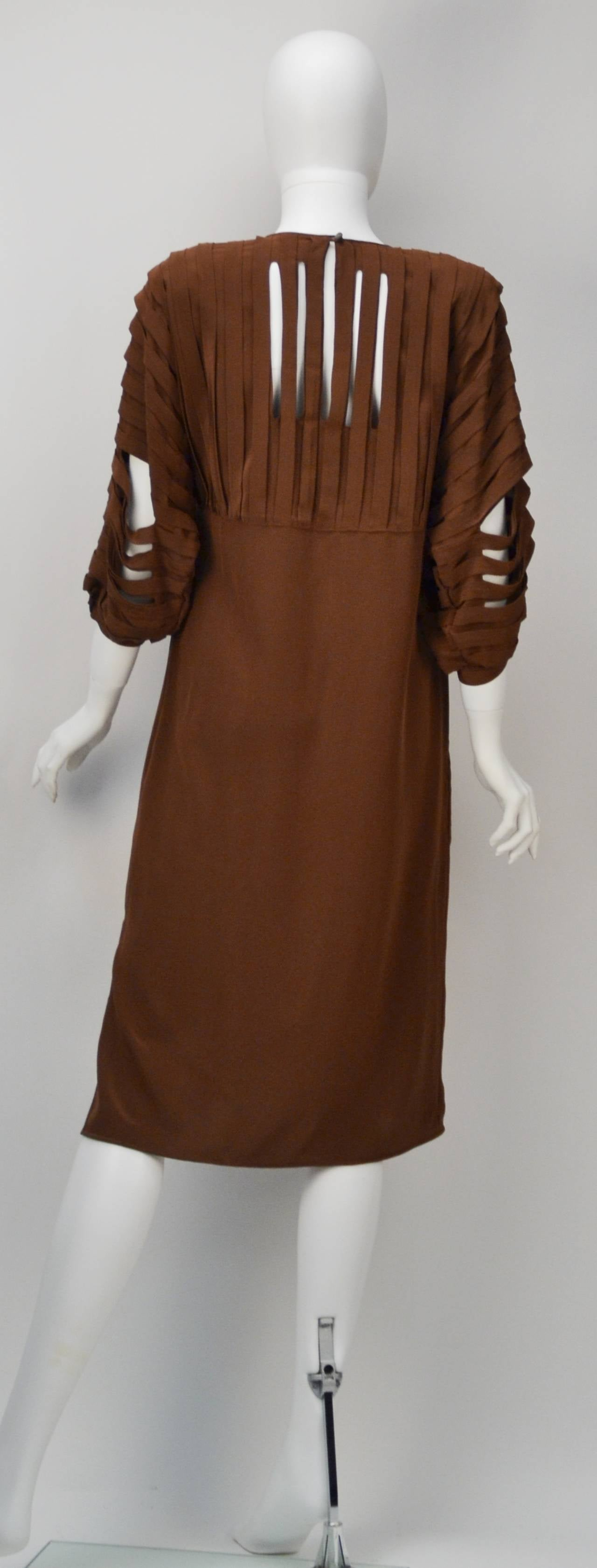1980 39 S Laura Biagiotti Italian Chocolate Silk Dress At 1stdibs