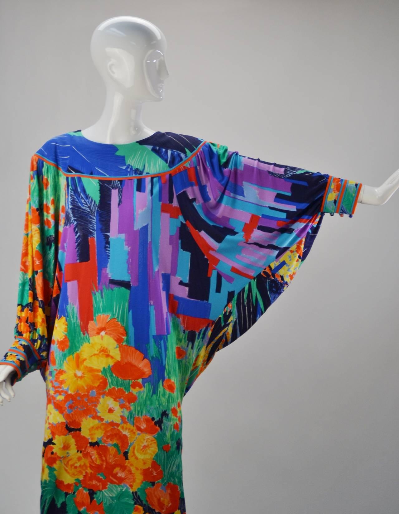 1980's Leonard Paris Batwing Dress 4