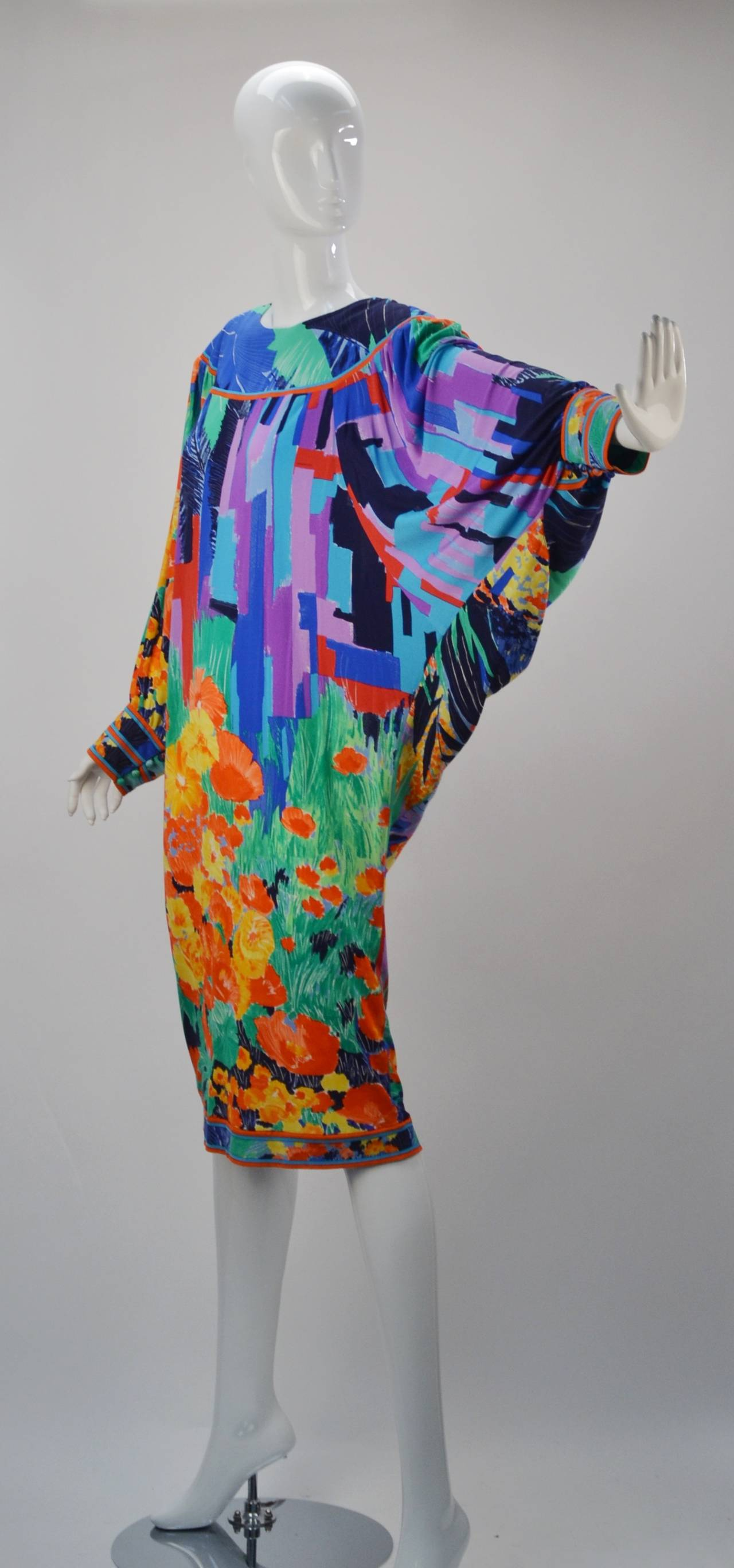 This Wildly Printed And Colored Silk Jersey Mikado Batwing Dress Evokes Fun When You Wear 1980 S Leonard Paris
