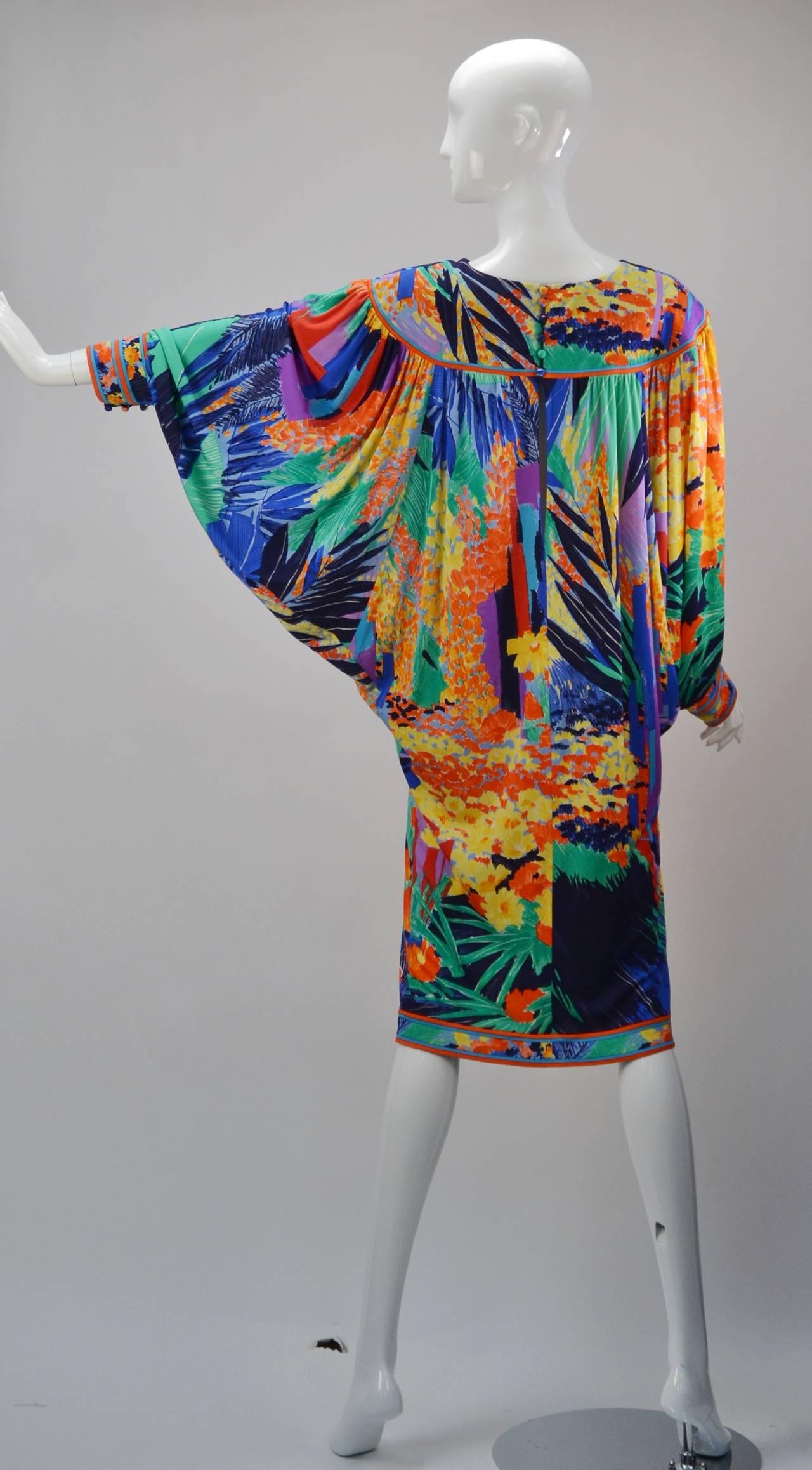 1980's Leonard Paris Batwing Dress 3