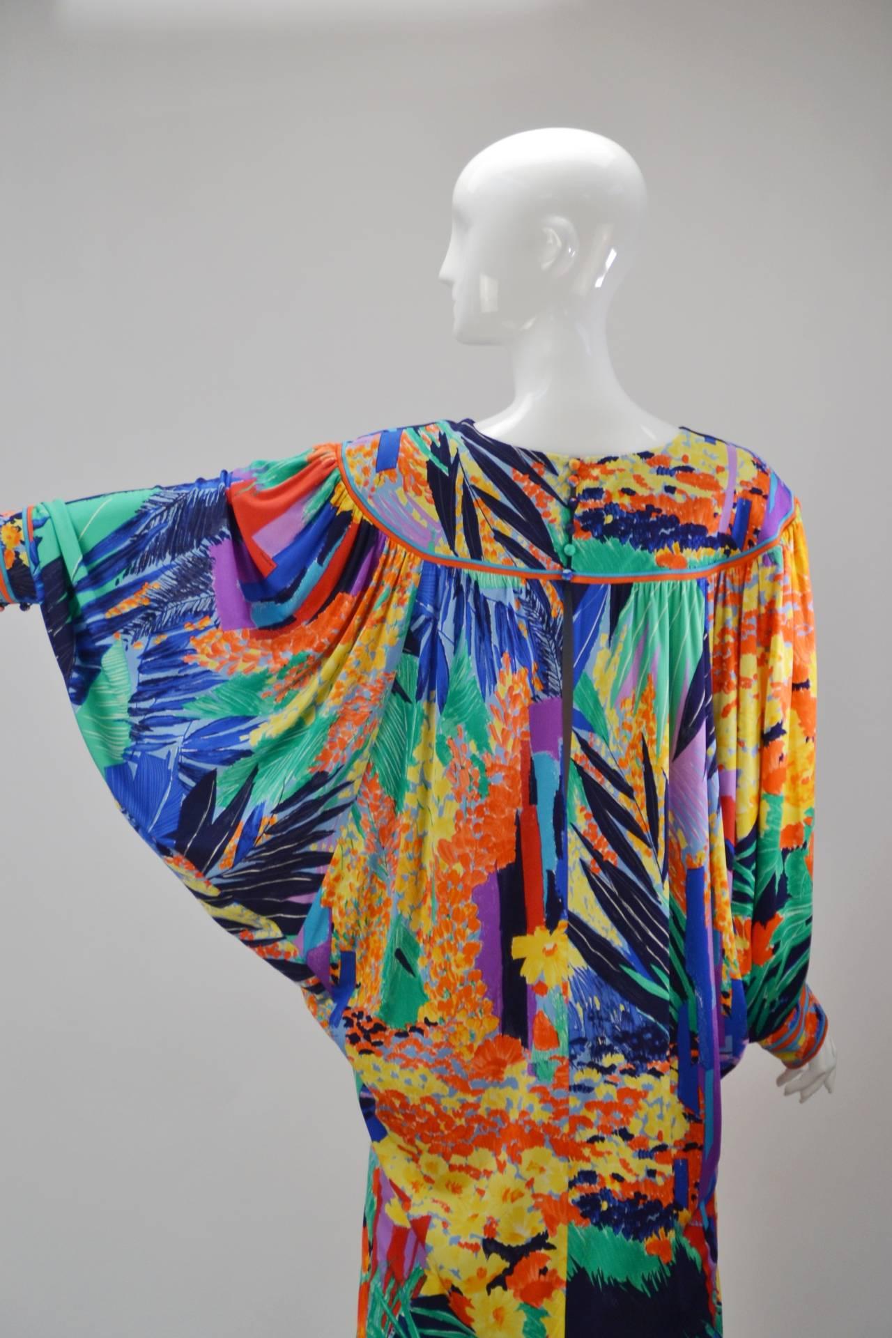 1980's Leonard Paris Batwing Dress 5
