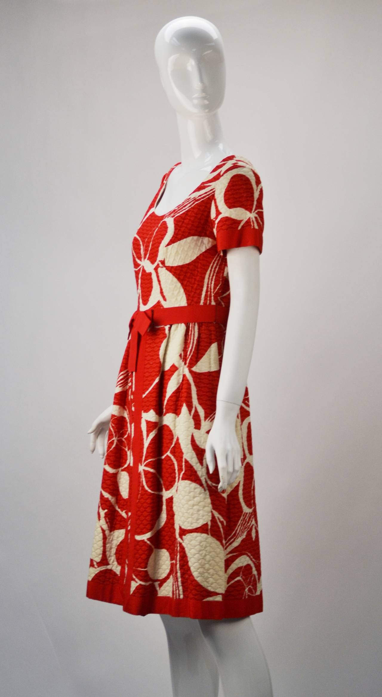 1970s Mollie Parnis Red and Bone Print Cotton Dress 3