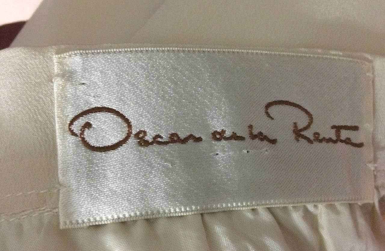 1990s Oscar de la Renta Navy and Cream Silk Ensemble For Sale 1