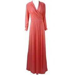 1970s Joy Stevens Coral Pink Maxi Dress