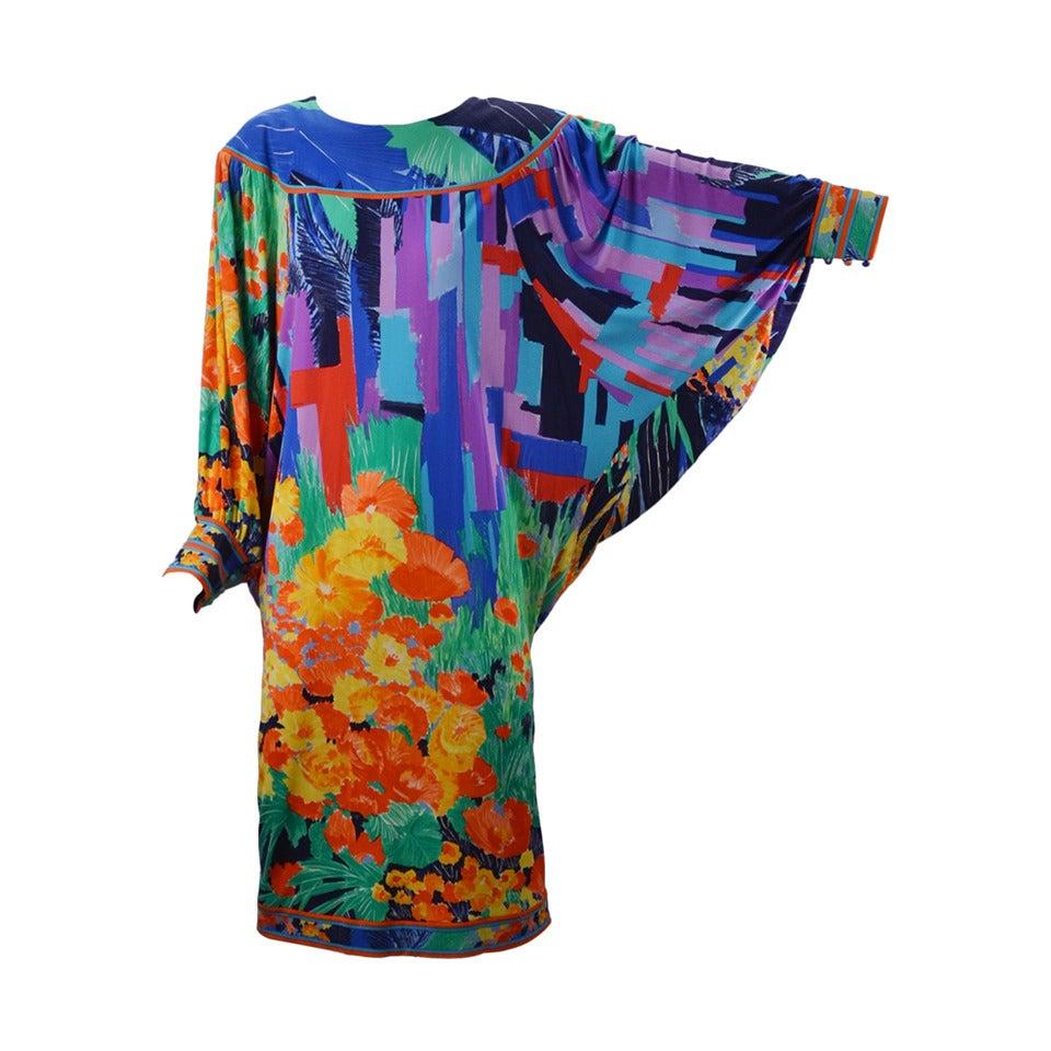 1980's Leonard Paris Batwing Dress 1