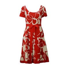1970s Mollie Parnis Red and Bone Print Cotton Dress