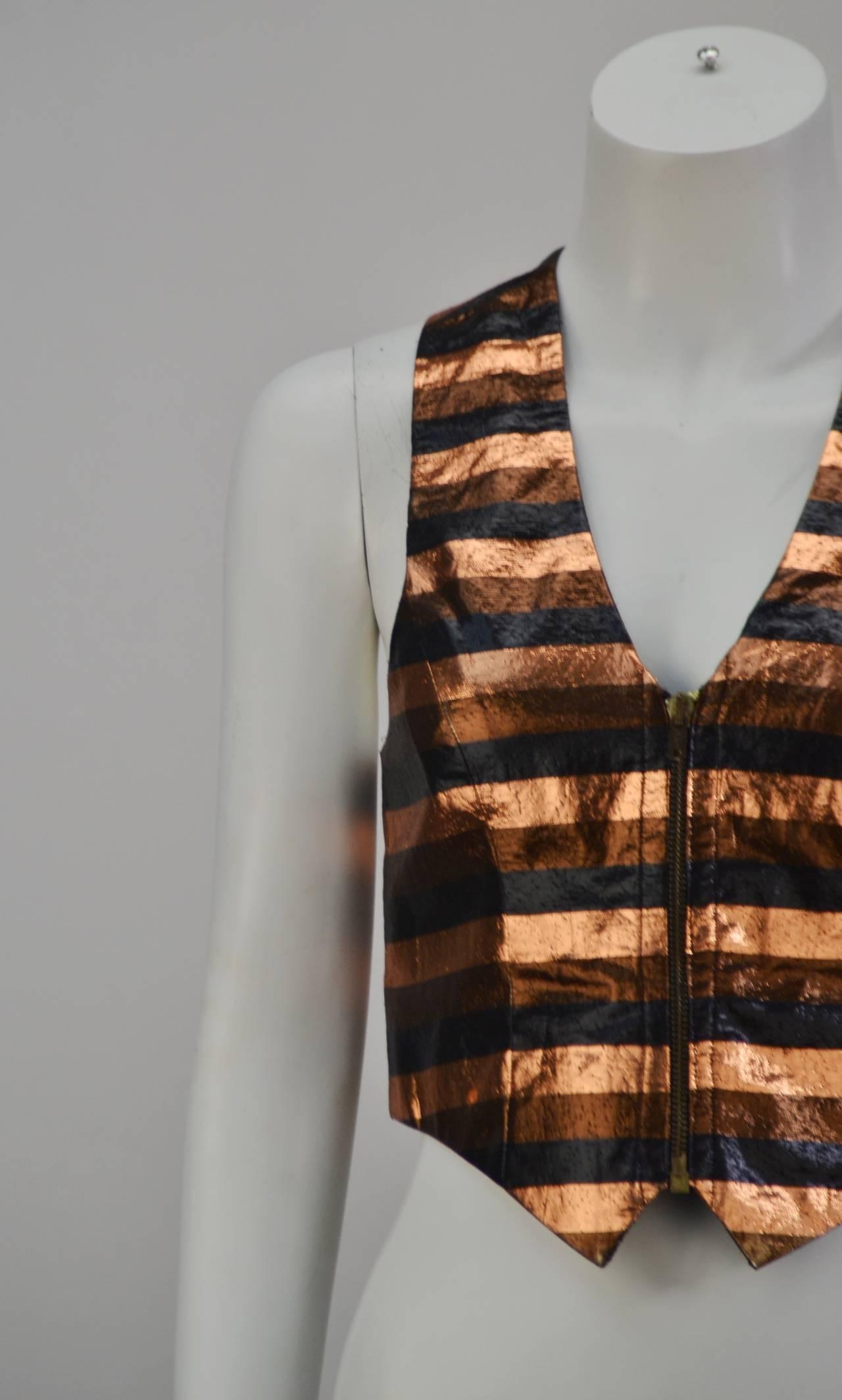 Black Biba Metallic Striped Vest, 1970s  For Sale