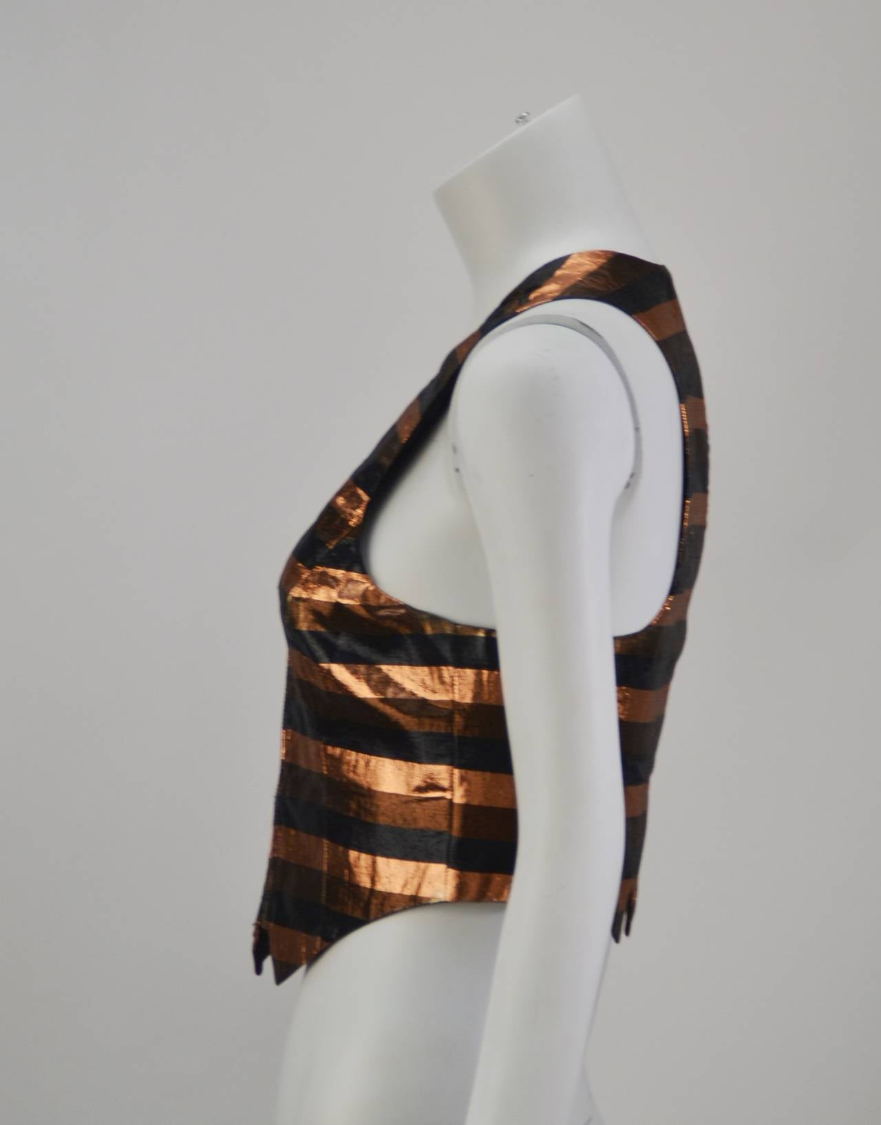 1970s Biba Metallic Striped Vest 2