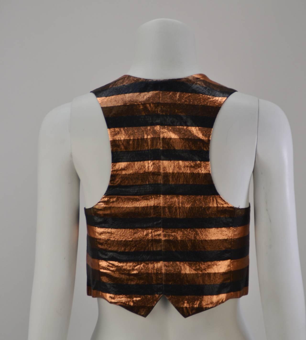 Biba Metallic Striped Vest, 1970s  In Excellent Condition For Sale In Houston, TX