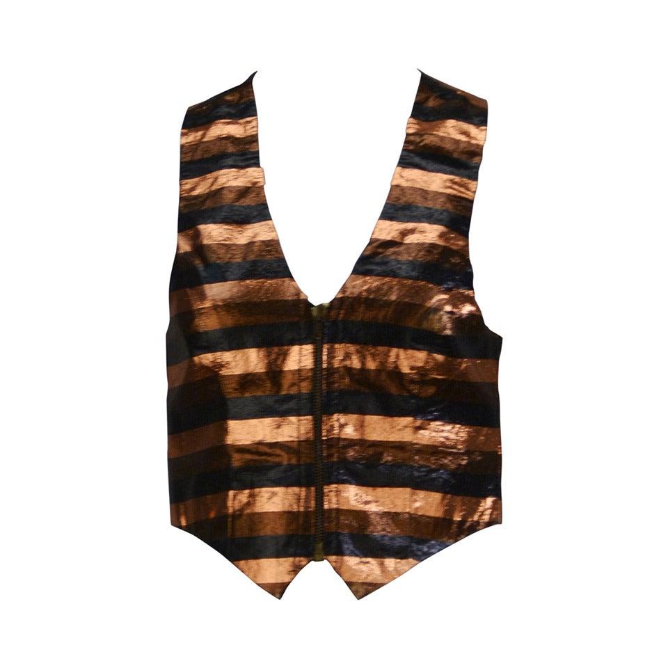 1970s Biba Metallic Striped Vest 1