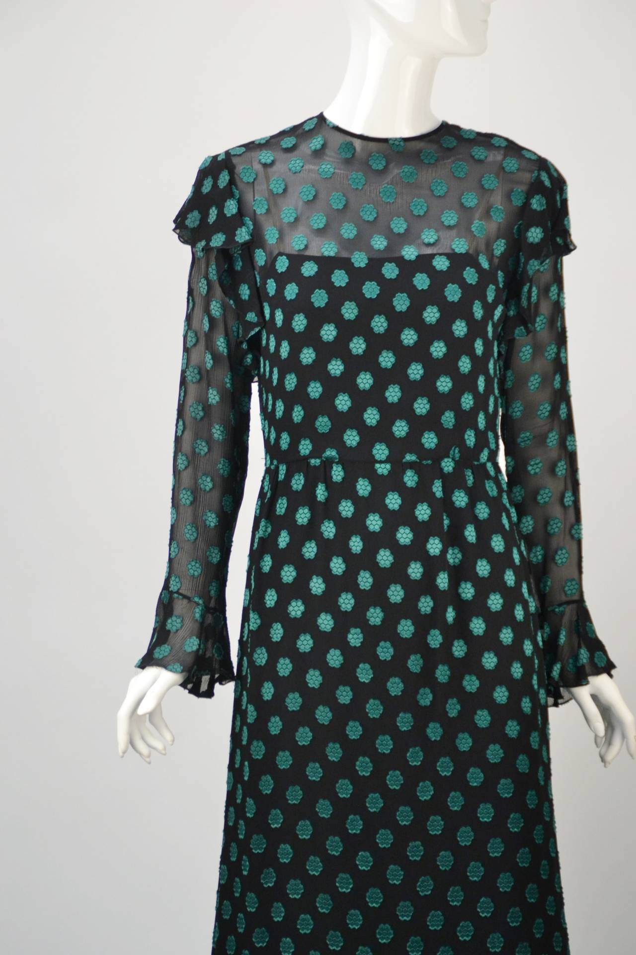 1980s Christian Dior Green Dress For Sale 1