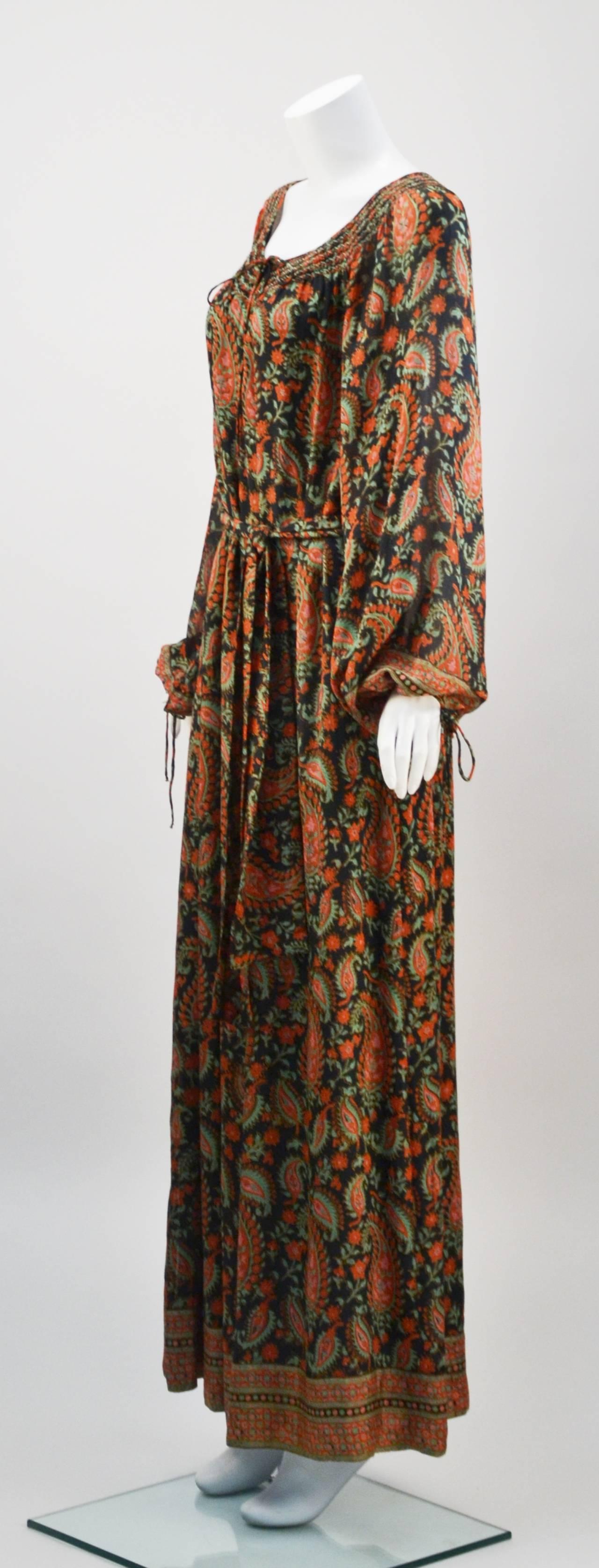 1970s Treacy Lowe Paisley Peasant Dress At 1stdibs