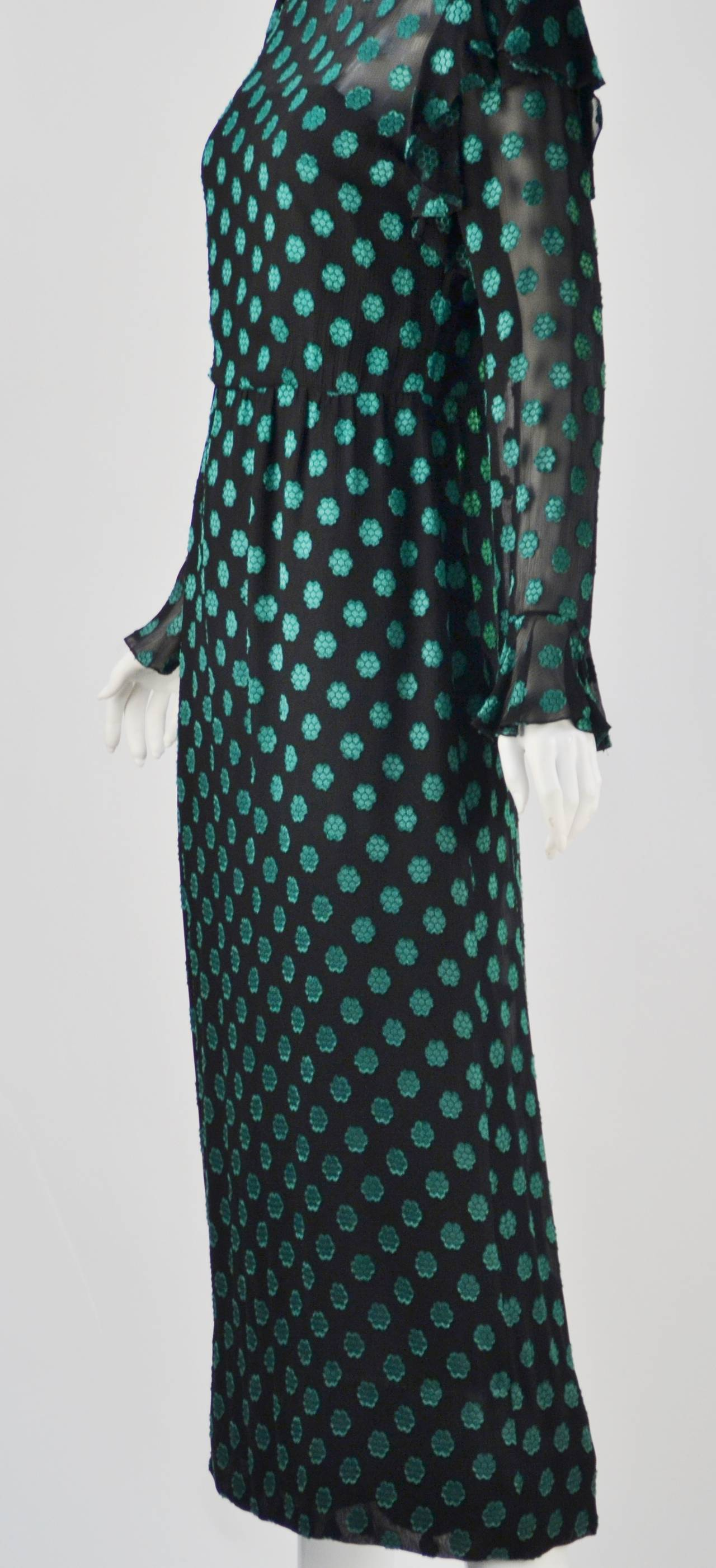 1980s Christian Dior Green Dress In Excellent Condition For Sale In Houston, TX