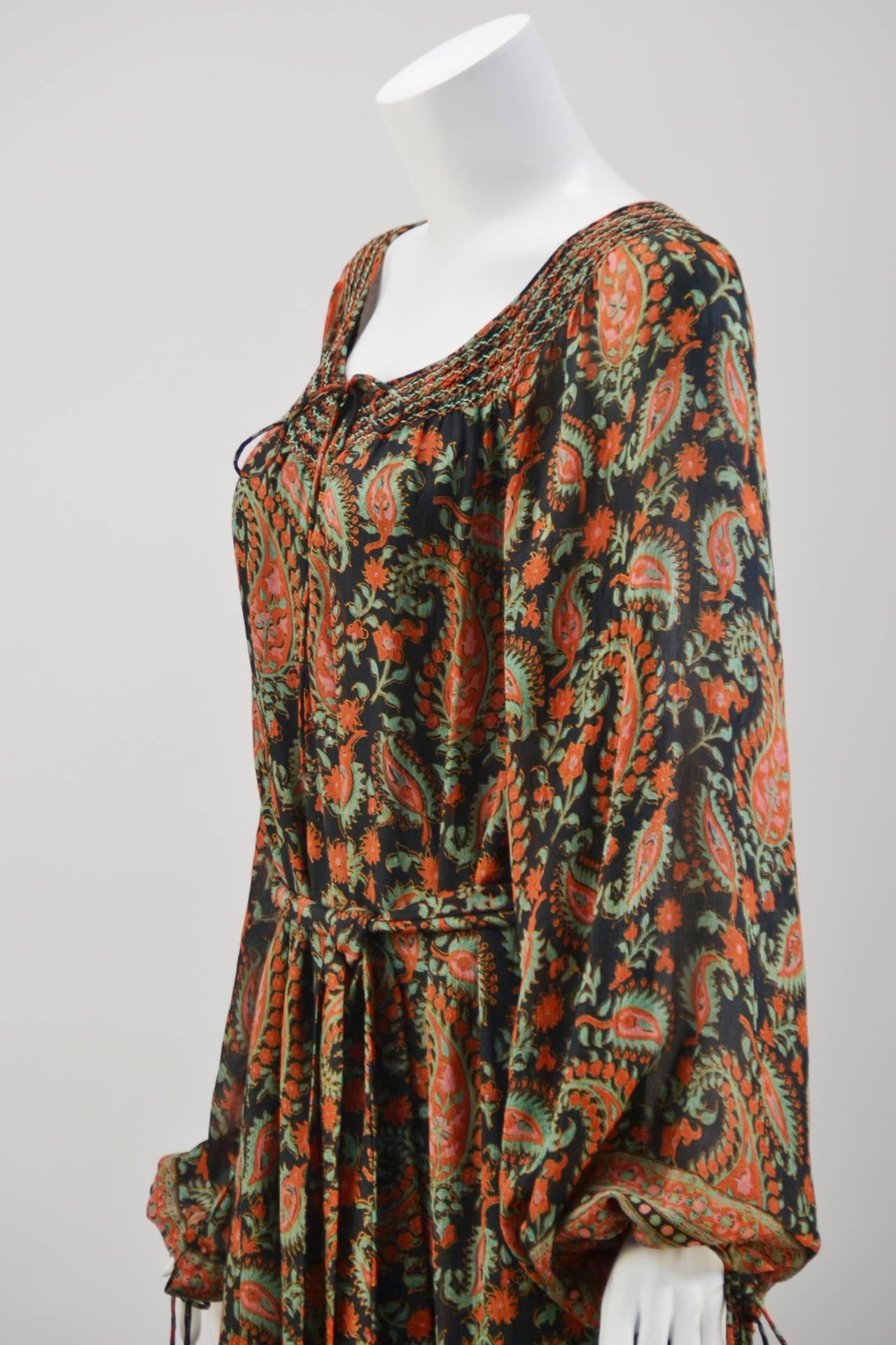 Women's 1970s Treacy Lowe Paisley Peasant Dress For Sale