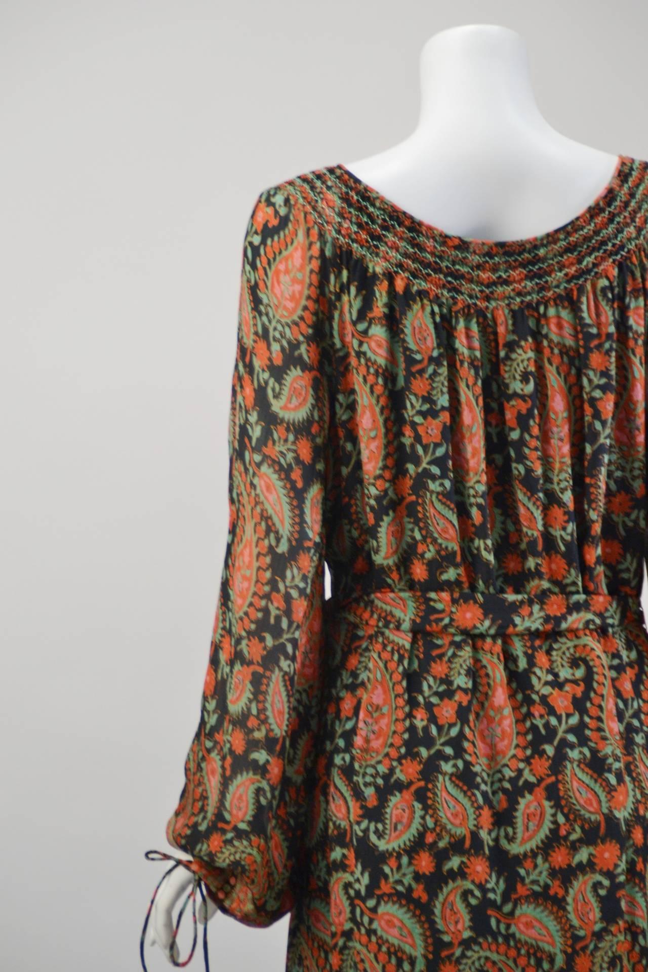1970s Treacy Lowe Paisley Peasant Dress For Sale 1