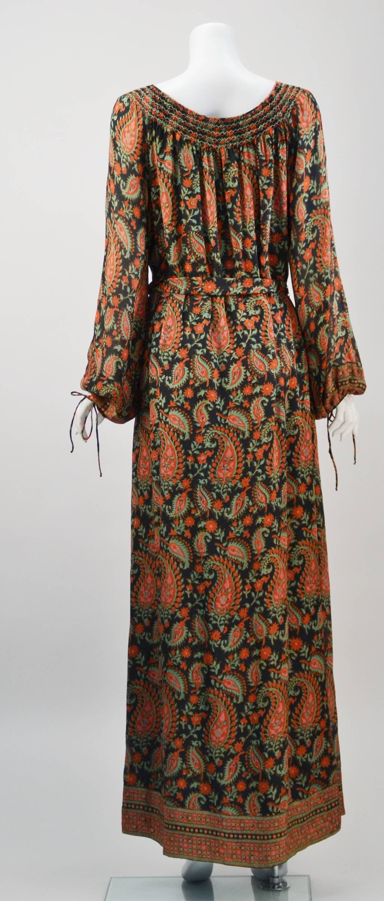 Brown 1970s Treacy Lowe Paisley Peasant Dress For Sale