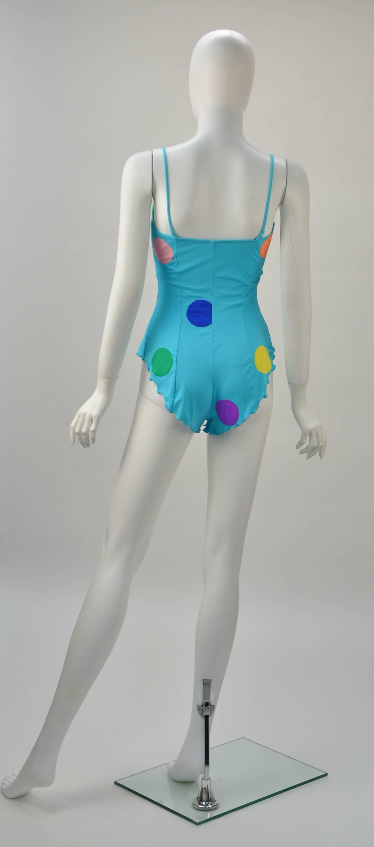 Fabulous 1980's NWT Keiko Large Polka Dot Swimsuit 2