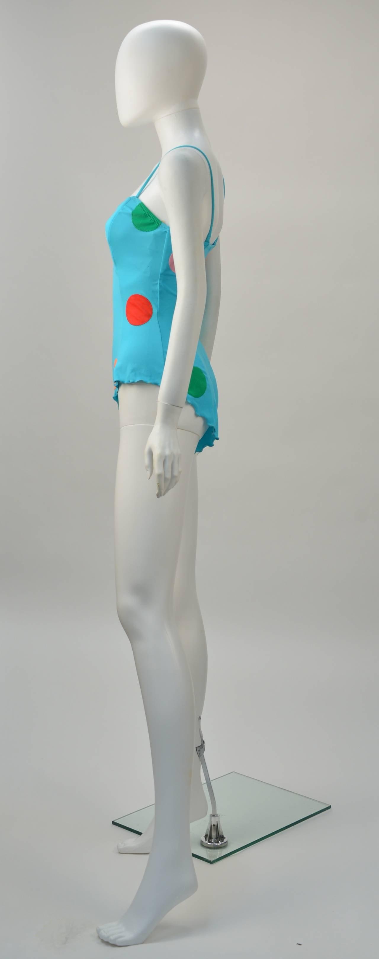 Fabulous 1980's NWT Keiko Large Polka Dot Swimsuit 3