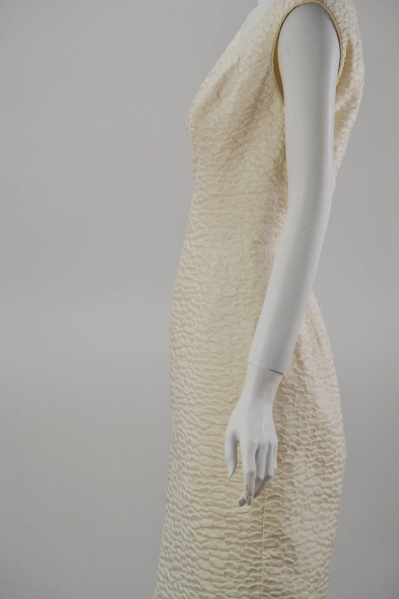 Women's 1960s Mr. Blackwell Ivory Textured Dress with Cape For Sale