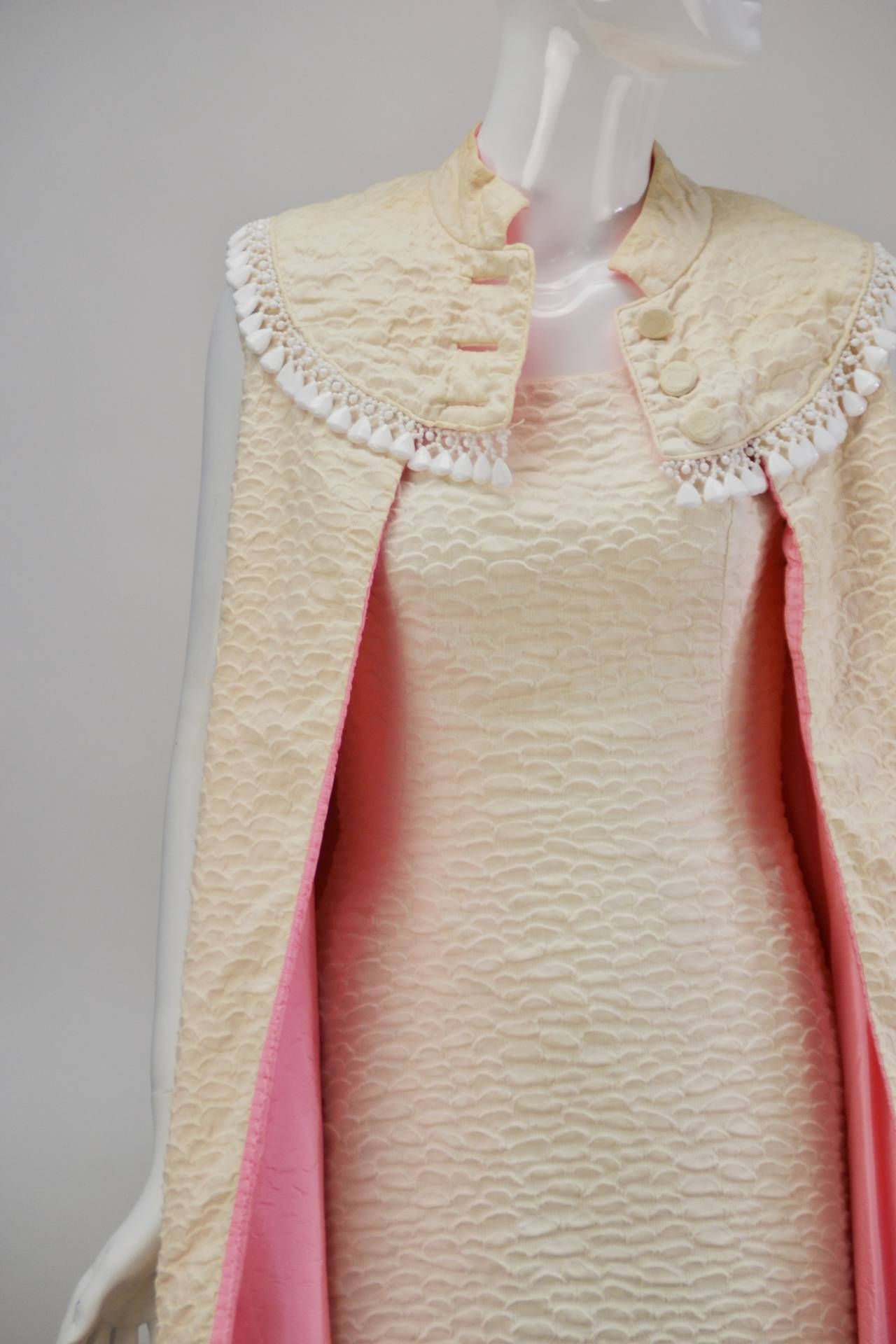 1960s Mr. Blackwell Ivory Textured Dress with Cape For Sale 1