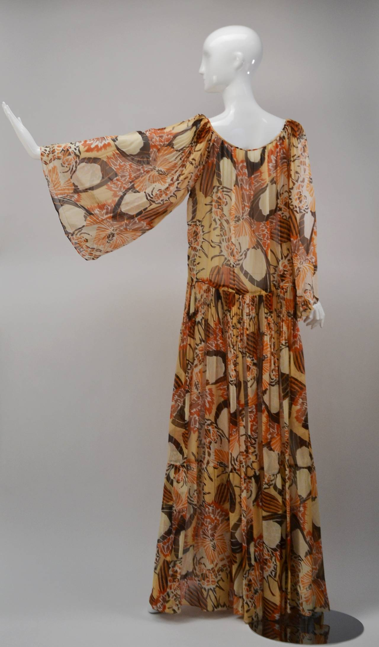 1970s Richilene Chiffon Floral Print Maxi Dress 3