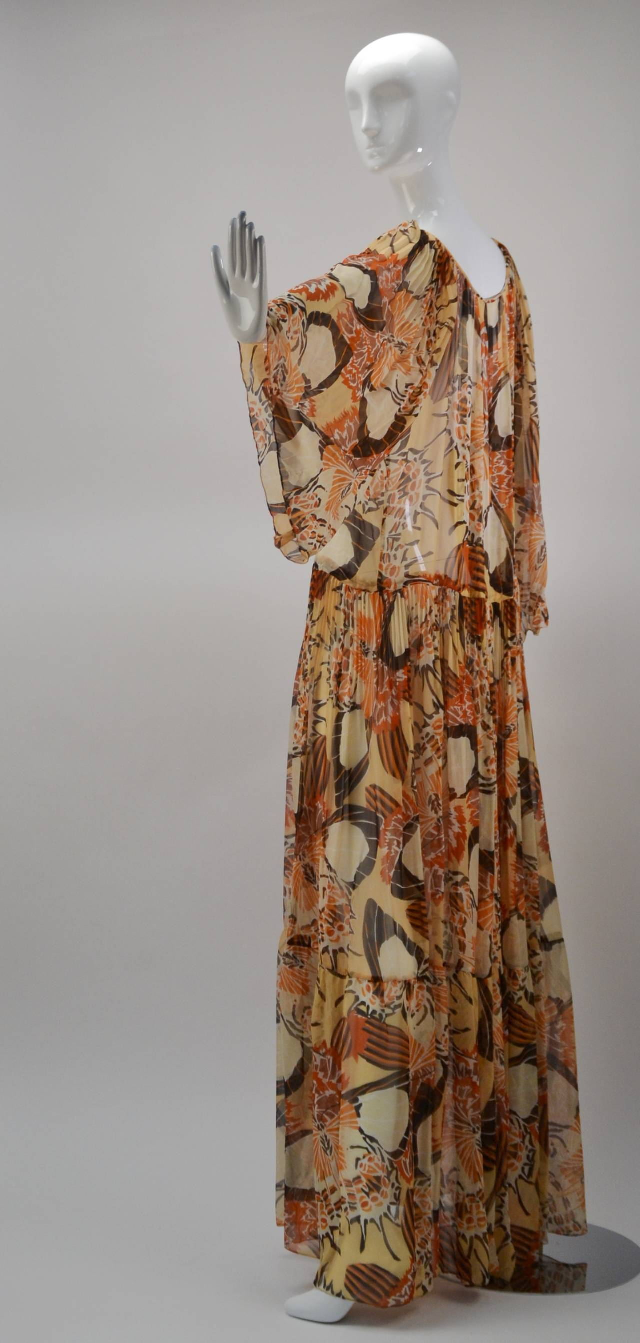 1970s Richilene Chiffon Floral Print Maxi Dress 2