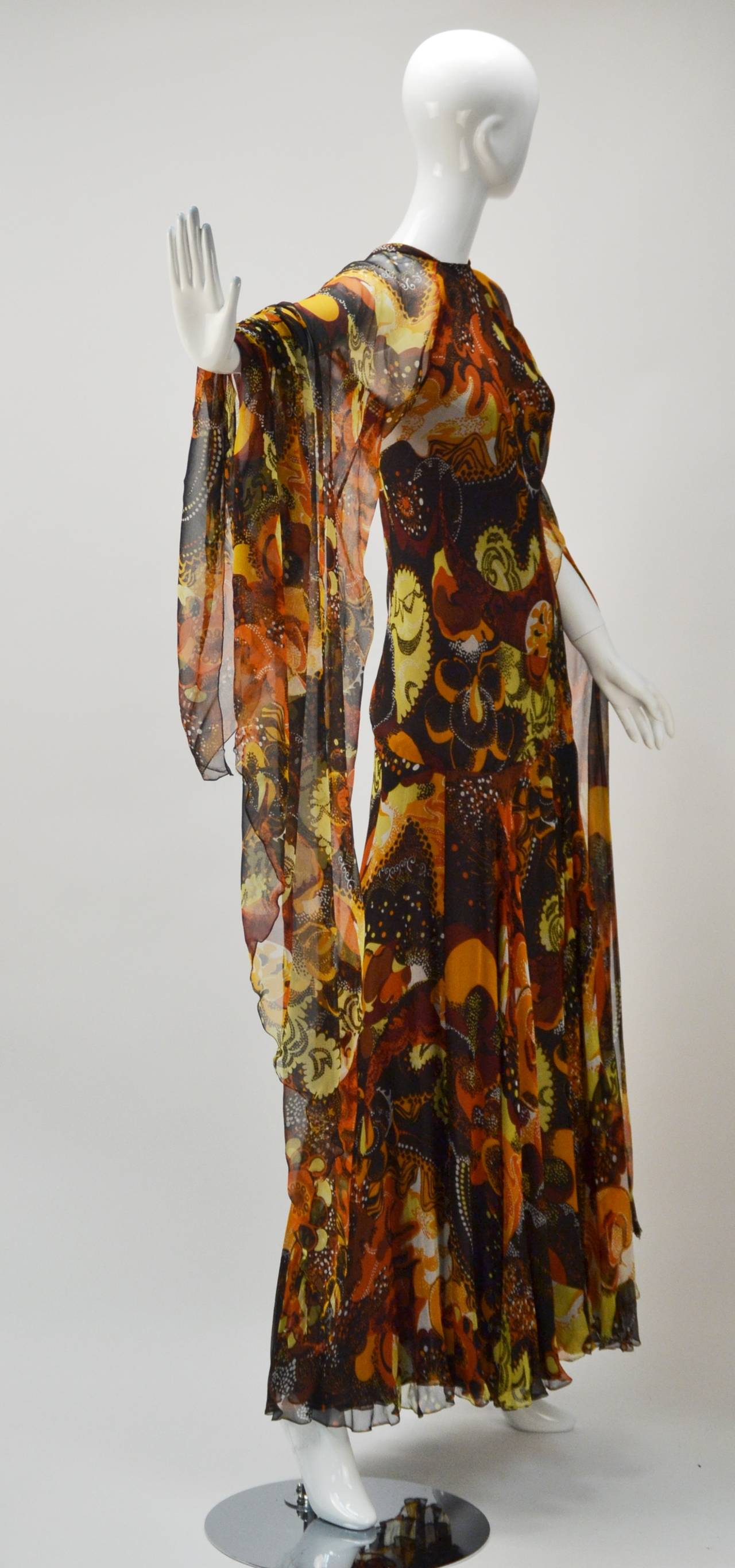 1970s Stavropoulos silk print Dress 2
