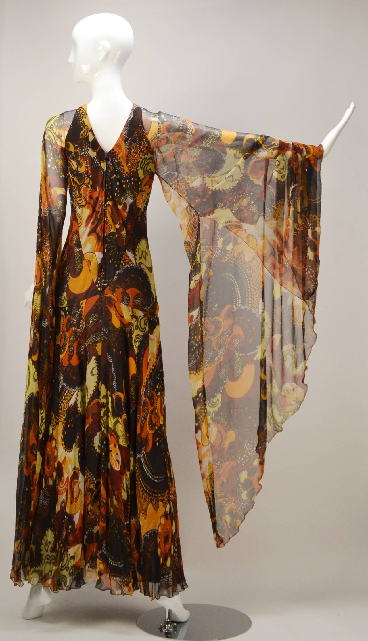 1970s Stavropoulos silk print Dress 3