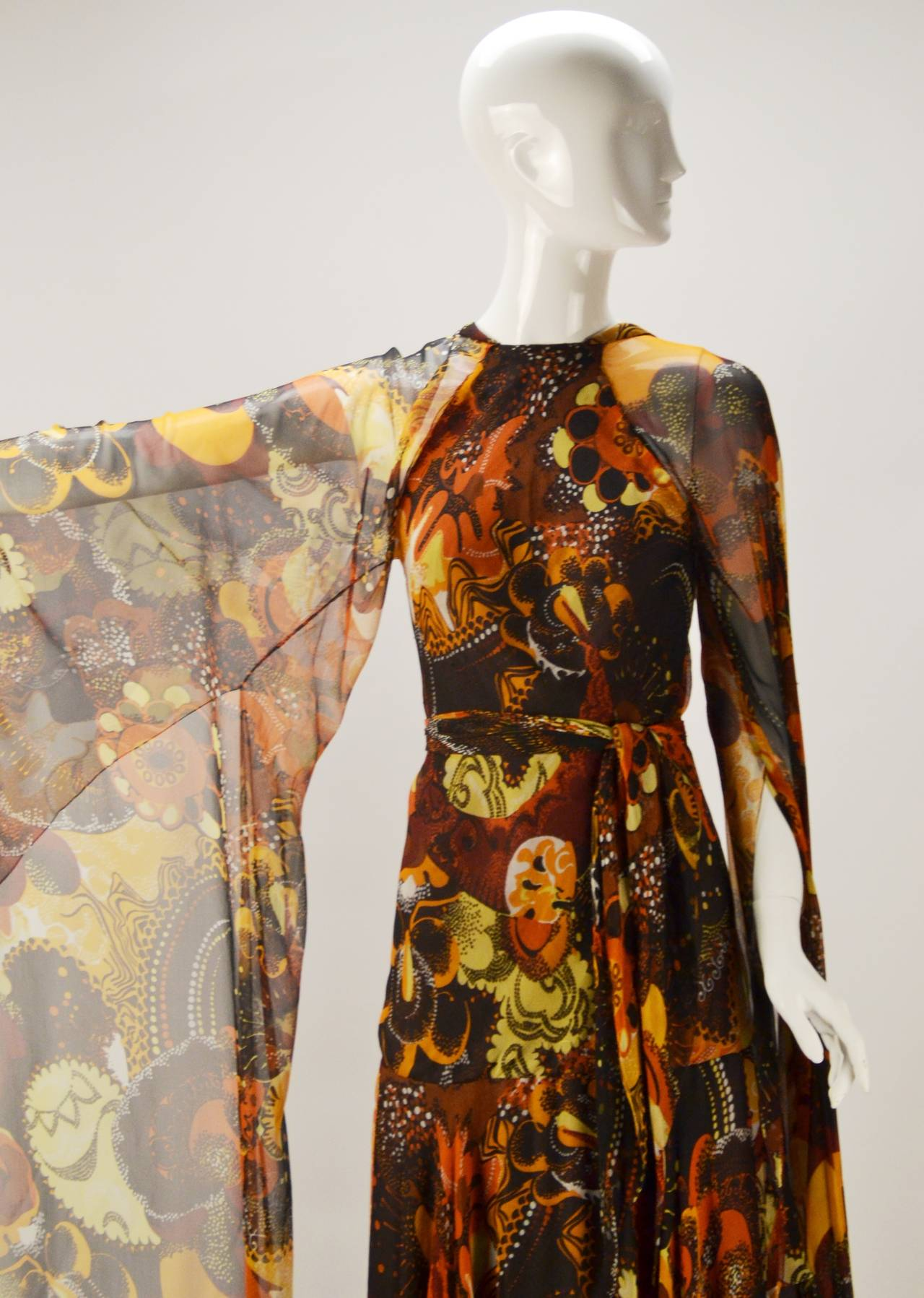 1970s Stavropoulos silk print Dress 7