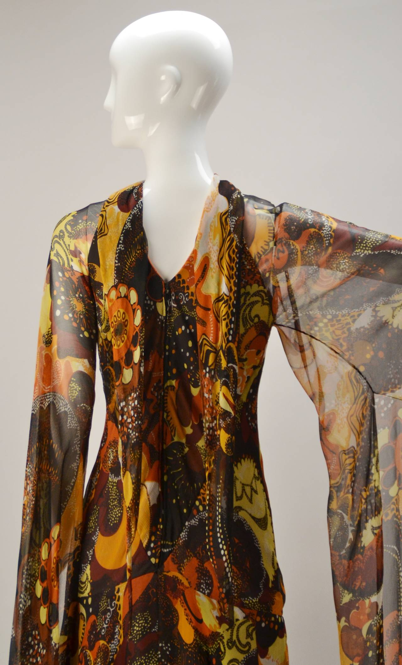 1970s Stavropoulos silk print Dress 6