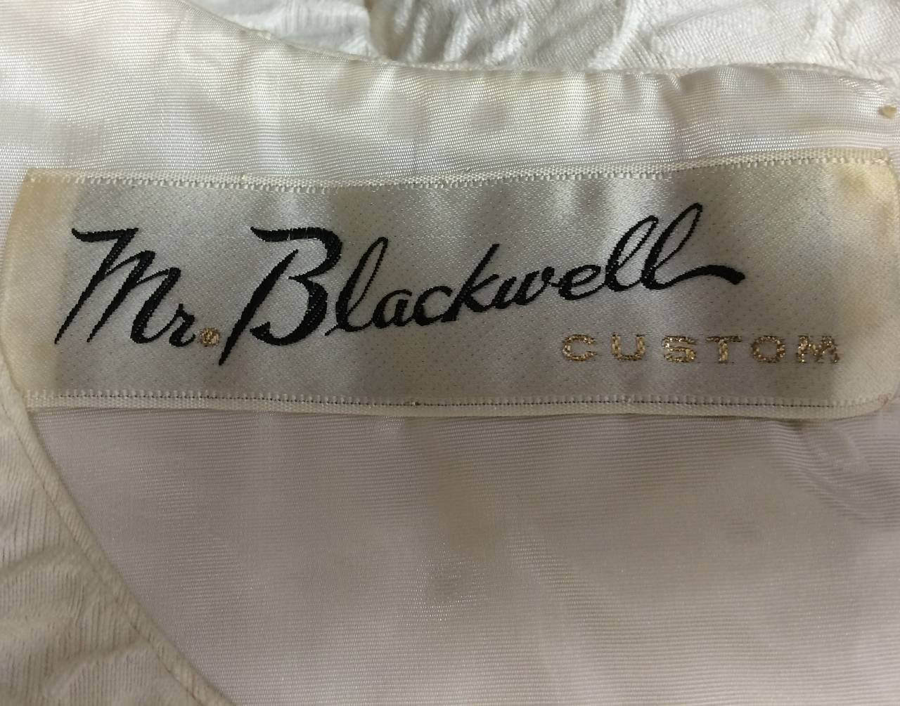 1960s Mr. Blackwell Ivory Textured Dress with Cape For Sale 4