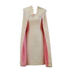 1960s Mr. Blackwell Ivory Textured Dress with Cape